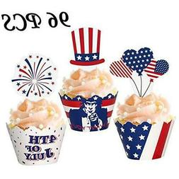 96PCS 4th of July Cupcake Toppers Wrappers- Patriotic Party