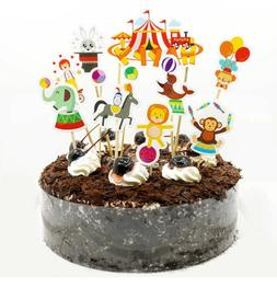 9pc Circus Animals Clowns Cupcake Toppers