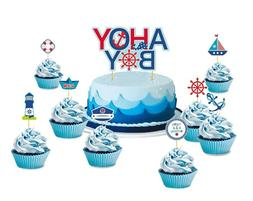 9pcs Birthday Cake Toppers Sailor Ocean Theme Party Cupcakes