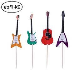 BESTOYARD Guitar Cupcake Toppers Musical Instrument Cupcake