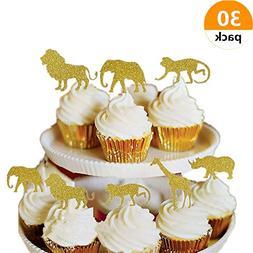 Bozoa  Gold Glitter Jungle Safari Animal Cupcake Toppers Pic