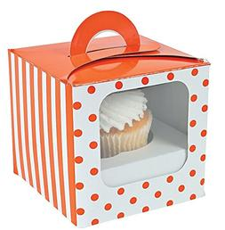 Cupcake Boxes with Handles and Inserts - Orange Polka Dot -