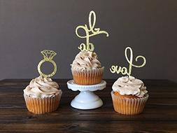Engagement Cupcake Toppers Picks Bridal Shower/Valentine Day