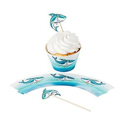 Paper Jawsome Shark Cupcake Wrappers with Picks