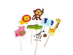 Glorious Year 28-Pack Cute Zoo Animal Cupcake Toppers Picks,