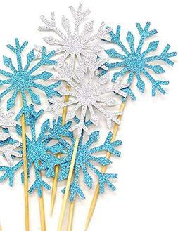HansGo 40 Pcs Glitter Snowflake Cupcake Toppers Cake Picks D