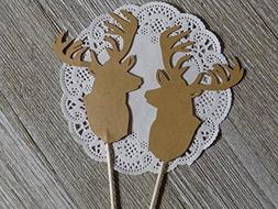 Large Brown Deer Head Cupcake Toppers - Food Picks - Party P