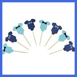 PROPARTY Blue Baby Jumpsuits Baby Shower Cake Cupcake Topper