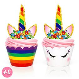 Rainbow Unicorn Cupcake Toppers and Wrappers - Girl's Birthd