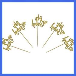 Set of 24 Gold Glitter Oh Baby Cake Cupcake Toppers Picks fo