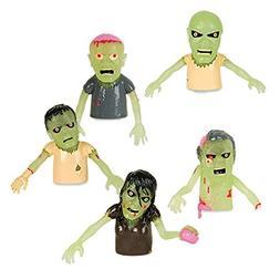 Set of 5 Glow in the Dark Zombie Finger Puppets Halloween Zo