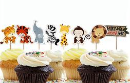 Yunko 24 Pcs Cute Decorative Cupcake Muffin Toppers Wild Ani