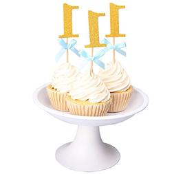 Betop House It's a Boy Glitter Gold and Blue Ribbon Bow-knot