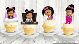 African American Boss Baby Girl Cupcake Toppers