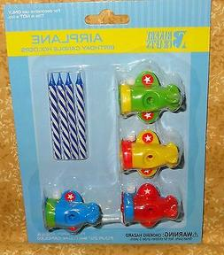 Airplane Cupcake Candle Holder Toppers,Bakery Crafts,Plastic