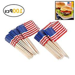 American Flag Picks Toothpicks Cocktail Sticks Cupcake Toppe