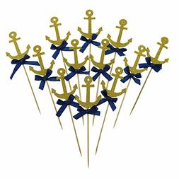 Bilipala Anchor Cake Cupcake Topper Picks For Nautical Theme