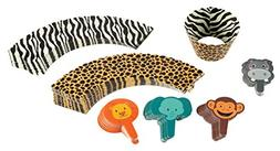 Animal Cupcake Toppers and Liners - 100-Piece Zoo Safari Cup