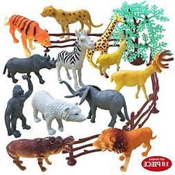 THREE BEARS Animal Figures,18 Piece Mini Jungle Animal Toys