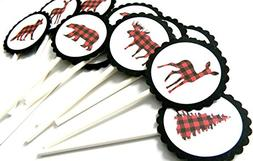 Animal Lumberjack Cupcake Toppers - Set of 12