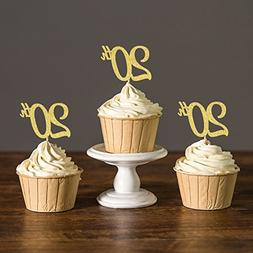 Areena Shop 20th Anniversary Cupcake Toppers, Twenty Birthda