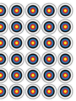 """Archery Target 30 x 1.3"""" Icing cupcake toppers PRECUT - Read"""