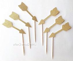 12 pcs arrows boho bohemian tribal theme Gold Glitter Cupcak