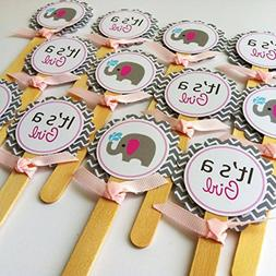 Baby Girl Elephant Cupcake Toppers - It's a Girl Baby Shower