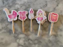Baby Girl Gender Reveal Baby Shower Party Cupcake Toppers Ca
