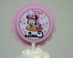 Baby Minnie Mouse 1st Birthday Pink Cupcake Topper's...Set o