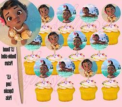 Baby Moana Hawaiian Disney Movie Double-Sided Cupcake Picks
