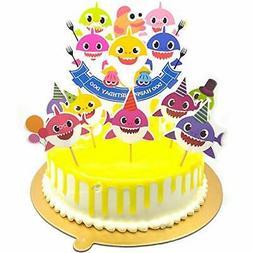 v39buy Baby Shark Birthday Cake Topper , Cute Shark Cupcake