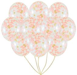 XADP 18 Inch Large Balloons-10 Pieces Rose Gold Confetti Bal