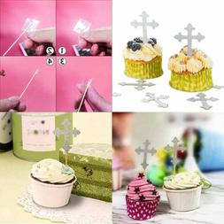 Baptism Cross Cupcake Toppers SILVER 50Pcs Desserts Pastries