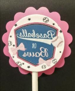 Baseball or Bows Baby Shower Gender Reveal Cupcake Toppers S
