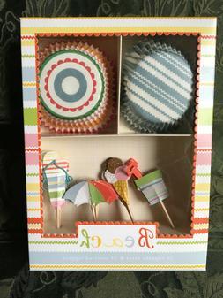 Meri go Round Beach Cupcake Kit 24 Cupcake Cases & Toppers D