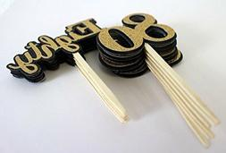 All About Details Black & Gold Eighty Cupcake Toppers, Set o