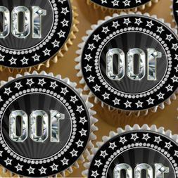 BLACK DIAMOND 100TH BIRTHDAY ANNIVERSARY AGE 100 EDIBLE CUPC
