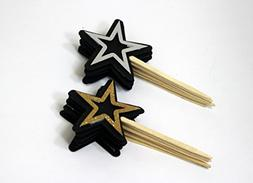 All About Details Black, Silver & Gold Star Cupcake Toppers,