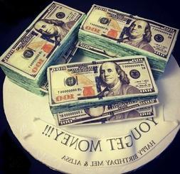 Edible Money Cake Toppers, 100 Dollar Bill Cake & Cupcake To