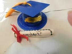 Blue Graduation Cap Hat Cake Topper & Diploma Cupcake Candy