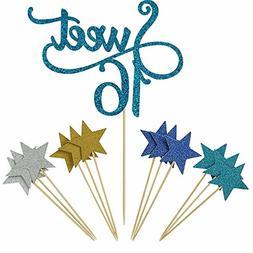 Shxstore Blue Monogram Sweet 16 Cake Topper Glitter Star Cup