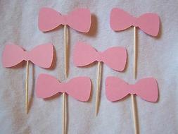 Bowtie pink party cupcake toppers set of 12 baby girl handma