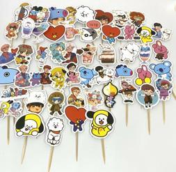 Handmade BTS BT21 Sticker Cupcake Toppers Party Favor Set of
