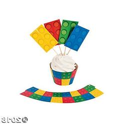 Color Building Brick Party Cupcake Wrappers with Picks - 50