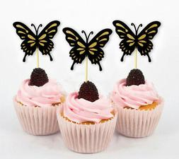 Butterfly Cupcake Toppers, Birthday Wedding Party - Pack Of