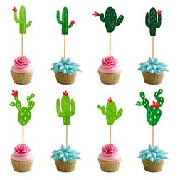 48-Pieces Cactus Cupcake Toppers Fiesta West Cacti Theme Bir