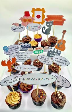 cake and food sticks toppers buffet friends theme  event par