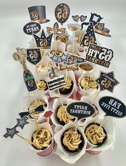 cake and food sticks toppers decoration assembled  65th buff