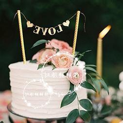 "Astra Gourmet 2-Pack ""Love"" Cake Banner Bunting Wedding Birt"